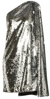 Stella McCartney Asymmetric Messy Sequin Cape Shift Dress