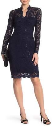 Marina Scalloped Sequined Lace Sheath Dress