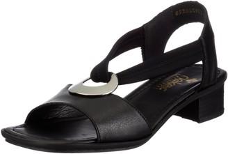 Rieker Women Sandals 62662 Ladies Sandals Summer Shoe Strap Elegant Feminine Medium-high Heel Schwarz/Schwarz / 01 37 EU / 4 UK