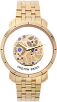 Croton Mens Goldtone Skeleton Bracelet Watches