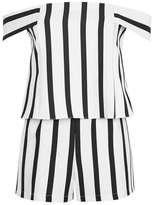 Tall stripe bardot playsuit