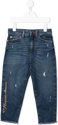 Emporio Armani Kids Distressed Straight-Leg Jeans