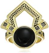 House Of Harlow Patolli Statement Gold/ Black Ring , Size 7