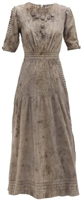 Mimi Prober - Ada Pintucked Organic-cotton Midi Dress - Womens - Grey Multi