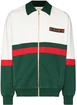 Gucci Web detail panelled zip-up cardigan