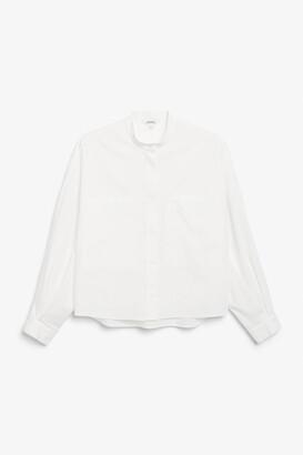Monki Boxy grandad collar shirt