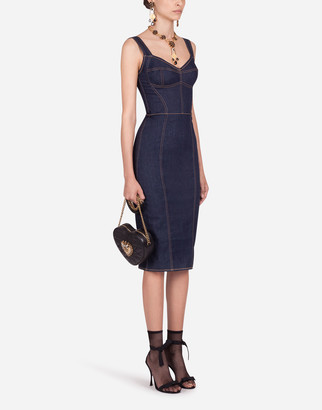 Dolce & Gabbana Form-Fitting Denim Midi Dress