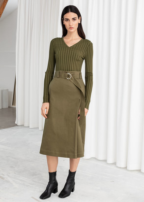 And other stories Belted A-Line Midi Skirt