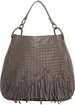 Bottega Veneta Brown Nappa Leather & Intrecciato Fringe Large Brio Loop Hobo Bag