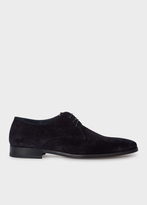 Paul Smith Men's Dark Navy Suede 'Coyle' Derby Shoes With 'Signature Stripe' Details