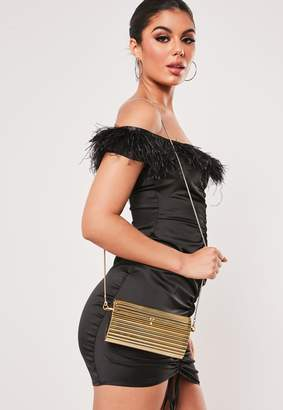 Missguided Gold Hard Case Cross Body Bag