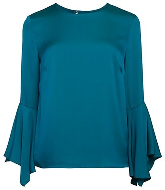 Milly Holly Ruffle-Sleeve Blouse