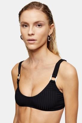 Topshop Black Ribbed Ring Scoop Crop Bikini Top