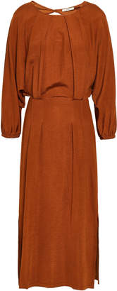 Dagmar House Of Cutout Pleated Jersey Midi Dress