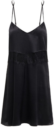 Ginia Corded Lace-trimmed Silk-satin Chemise