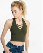 Express one eleven abbreviated lace-up halter tank