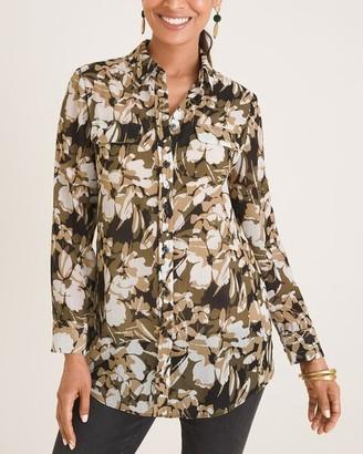 Chico's Feminine Camo-Print Easy Shirt
