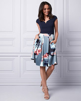 Le Château Floral Print Satin Dress