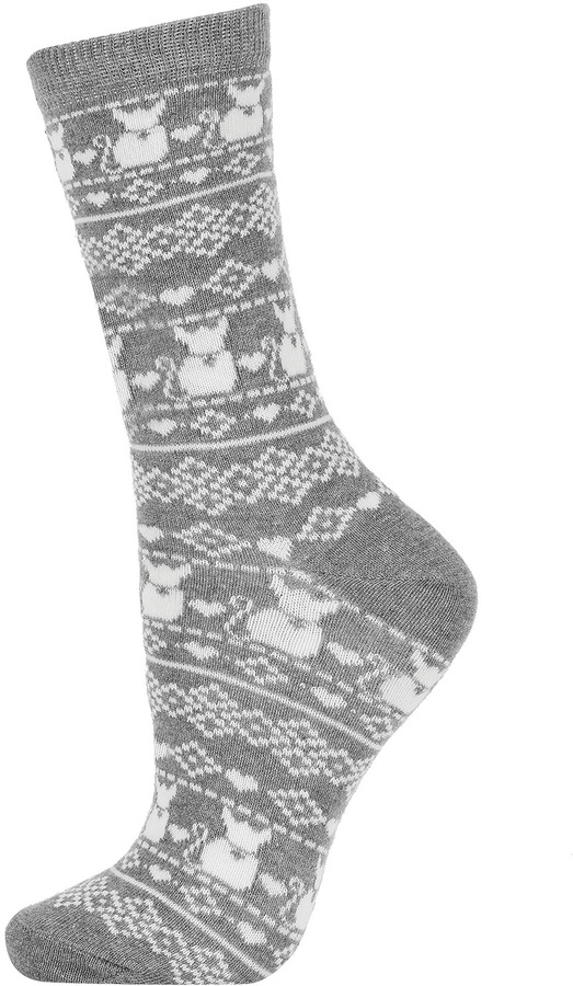 Topshop Grey Cat Fairisle Ankle Socks