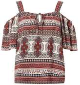 Dorothy Perkins Mosaic Print Cold Shoulder Top