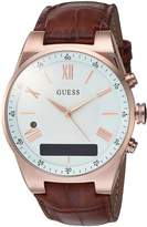 GUESS GUESS? Men's CONNECT Smartwatch with Amazon Alexa and Genuine Leather Strap Buckle - iOS and Android Compatible - Rose Gold