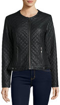Max Studio Quilted Faux-Leather Jacket, Black