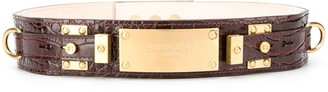 Balmain B-Plate crocodile embossed belt