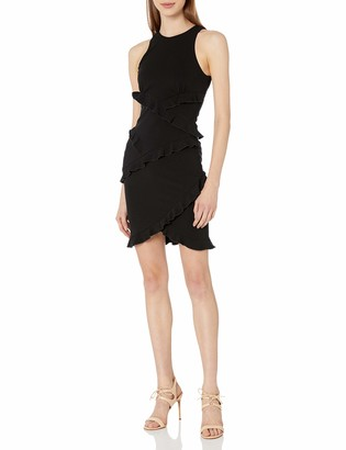 Nicole Miller Women's Structured Heavy Jersey Ruffle Dress