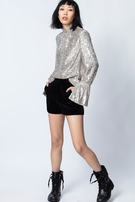Zadig & Voltaire Pink Velvet Shorts