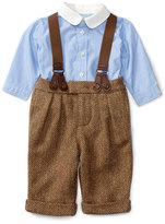 Ralph Lauren Poplin Shirt w/ Herringbone Pants & Suspenders, Brown/Blue, Size 6-24 Months