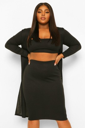 boohoo Plus 3 Piece Bandeau Midi Skirt Co-ord