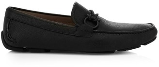 Salvatore Ferragamo Front Buckle Leather Driver Loafers