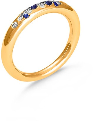Hargreaves Stockholm To The Moon & Back - 18Ct Gold, Diamond & Blue Sapphire Pave Ring