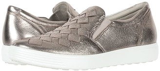 Ecco Soft 7 Woven Slip-On (Warm Grey Cow Leather) Women's Slip on Shoes