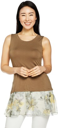 Logo by Lori Goldstein Solid Tank with Print Chiffon Hem