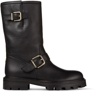 Jimmy Choo BIKER II - LINED Black Smooth Leather Biker Boots with Shearling Lining