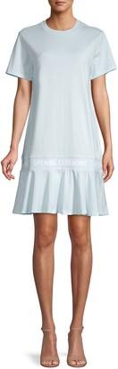 Opening Ceremony Scalloped Logo-Tape Cotton T-Shirt Dress