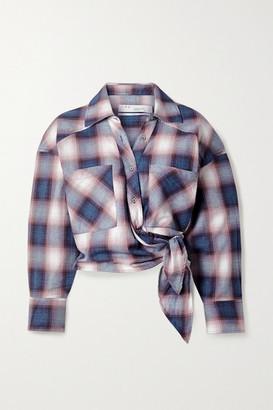 IRO Camde Checked Cotton-flannel Wrap Shirt - Blue