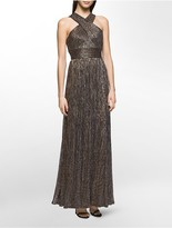 Calvin Klein Metallic Crossover Pleated Gown