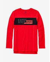Express red nyc graphic hi-lo long sleeve t-shirt