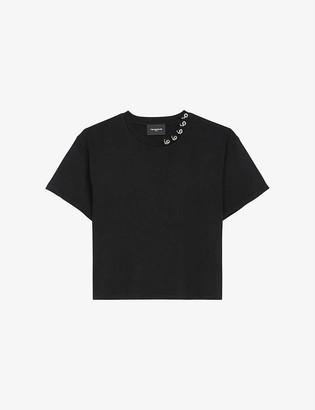 The Kooples Eyelet-embellished cotton-jersey T-shirt