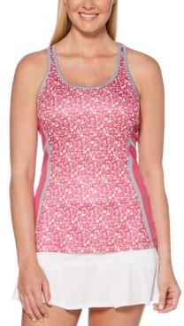 Pga Tour Printed Cutout-Back Tank Top