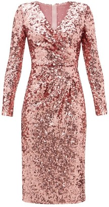Dolce & Gabbana Padded-shoulder V-neck Sequinned Dress - Womens - Pink