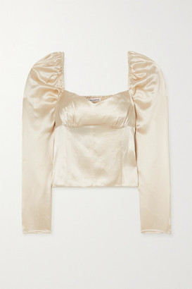 Reformation Roe Shirred Silk-satin Top - Ivory