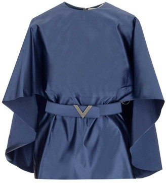 Valentino V- Belted Cape Blouse