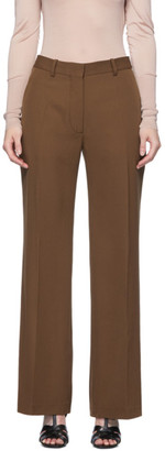 Victoria Beckham Brown Wool Wide-Leg Trousers