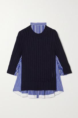 Sacai Paneled Striped Cotton-poplin And Ribbed Wool Sweater - Navy