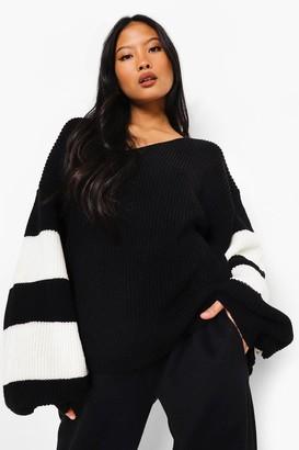 boohoo Petite V Neck Stripe sweater
