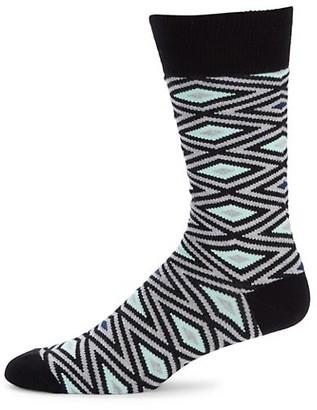 Saks Fifth Avenue Diamond Pop Crew Socks