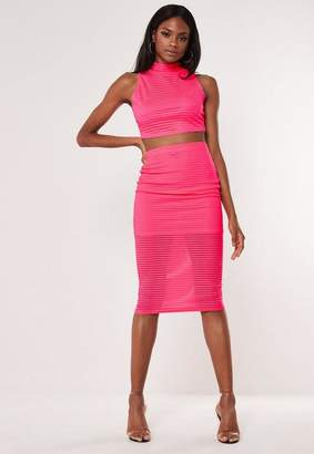 Missguided Neon Pink Mesh Stripe Co Ord Midi Skirt